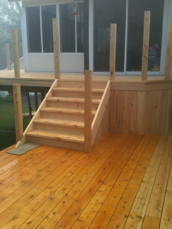 Deck under construction | 2x6 white cedar lumber random lengths